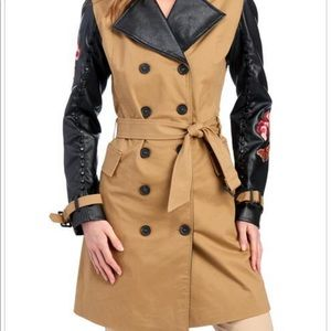 TRENCH COAT BY THIRD LAYER EMBROIDERED  LEATHER